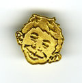 "Memorabilia:Mad, Alfred E. Neuman Lapel Pin (EC, 1994). This one-of-a-kind 1"" brasscloisonne lapel pin features the famous face of E.C. Comi..."