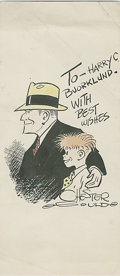 Original Comic Art:Sketches, Chester Gould - Dick Tracy Hand Colored Print (undated). Here's a splendid Dick Tracy and Junior Tracy hand colored print by...