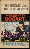 """Movie Posters:Crime, Deadline, U.S.A. (20th Century Fox, 1952). Window Card (13 3/8"""" X22""""). With his newspaper about to be sold, crusading edito..."""