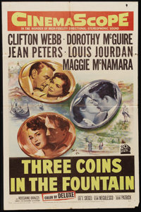 "Three Coins in the Fountain (20th Century Fox, 1954). One Sheet (27"" X 41""). Three American roommates wish for..."