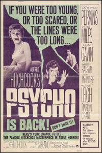 "Psycho (Paramount, R-1965). Poster (40"" X 60""). Hitchcock"