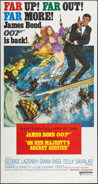 "On Her Majesty's Secret Service (United Artists, 1970). International Three Sheet (41"" X 77""). James Bond"