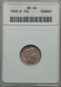Barber Dimes: , 1909-S 10C MS60 ANACS. NGC Census: (0/61). PCGS Population (1/56).Mintage: 1,000,000. CDN Wsl. Price for problem free NGC/...