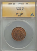 1869 2C PR62 Red and Brown ANACS. NGC Census: (2/143). PCGS Population (6/233). Mintage: 600. ...(PCGS# 3640)