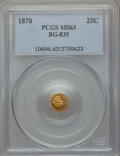 California Fractional Gold : , 1870 25C Liberty Round 25 Cents, BG-835, R.3, MS63 PCGS. PCGSPopulation (22/9). NGC Census: (0/2). ...