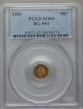 California Fractional Gold , 1880 50C Indian Octagonal 50 Cents, BG-954, Low R.4, MS63 PCGS.PCGS Population (29/51). NGC Census: (3/3). ...