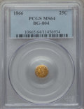 California Fractional Gold , 1866 25C Liberty Round 25 Cents, BG-804, R.4, MS64 PCGS. PCGSPopulation (29/27). NGC Census: (3/8). ...