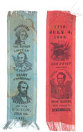 Political:Ribbons & Badges, Abraham Lincoln: Post-War July 4th Celebration Ribbons.... (Total: 2 Items)