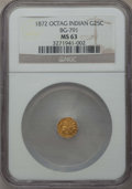 California Fractional Gold , 1872 25C Indian Octagonal 25 Cents, BG-791, R.3, MS63 NGC. NGCCensus: (14/42). PCGS Population (79/117). ...