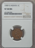 1909-S 1C Indian VF30 NGC. NGC Census: (321/1267). PCGS Population (519/1849). Mintage: 309,000....(PCGS# 2238)