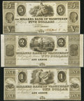 Obsoletes By State:Michigan, Ann Arbor, MI- Millers Bank of Washtenaw $1; $2; $5 18__ Remainders... (Total: 3 notes)