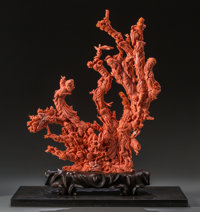 A Large Chinese Carved Coral Figural Group 16-7/8 h x 14 w inches (42.7 x 35.6 cm) (without base) Weight with c