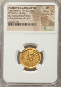 Ancients:Roman Imperial, Ancients: Theodosius II (AD 402-450). AV solidus (4.45 gm). NGC MS5/5 - 4/5. ...
