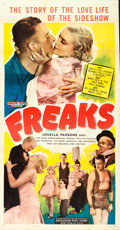 "Movie Posters:Horror, Freaks (Excelsior, R-1949). Flat Folded Three Sheet (41"" X 80"")....."