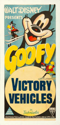 "Movie Posters:Animation, Goofy in Victory Vehicles (RKO, 1943). Stock Australian Post-WarDaybill (13"" X 30"").. ..."
