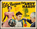"Movie Posters:Comedy, Life Begins for Andy Hardy (MGM, 1941). Half Sheet (22"" X 28""). Comedy.. ..."
