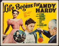 """Life Begins for Andy Hardy (MGM, 1941). Half Sheet (22"""" X 28""""). Comedy"""