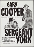 """Movie Posters:War, Sergeant York (Warner Brothers, R-1950s). Australian Posters (2)Identical (14"""" X 19""""). War.. ... (Total: 2 Items)"""