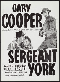 "Sergeant York (Warner Brothers, R-1950s). Australian Posters (2) Identical (14"" X 19""). War. ... (Total: 2 Ite..."