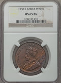 South Africa, South Africa: George V Penny 1930 MS65 Brown NGC,...