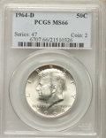 Kennedy Half Dollars, 1964-D 50C MS66 PCGS. PCGS Population (682/47). NGC Census:(407/14). Mintage: 156,205,440. ...