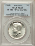 Kennedy Half Dollars, 1964-D 50C Doubled Die Obverse, FS-13.4 MS65 PCGS. PCGS Population(1250/729). NGC Census: (1827/421). Mintage: 156,205,440...