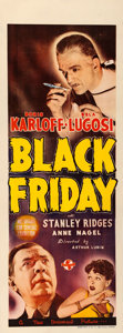 "Movie Posters:Horror, Black Friday (Universal, 1940). Australian Daybill (14.5"" X 30"").. ..."