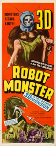 "Movie Posters:Science Fiction, Robot Monster (Astor Pictures, 1953). Insert (14"" X 36"") 3-DStyle.. ..."