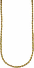 Estate Jewelry:Necklaces, Gold Necklace. The rope motif necklace features a large 18k yellowgold rope chain entwined with a fine 18k white gold rop...
