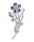 Estate Jewelry:Brooches - Pins, Diamond, Sapphire, Platinum Brooch. The brooch, designed as aflower, features European-cut diamonds weighing a total of a...