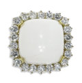 Estate Jewelry:Rings, Diamond, Hardstone, Gold Ring. The ring centers a cushion-shaped white hardstone cabochon, framed by full-cut diamonds wei...