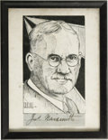 Basketball Collectibles:Others, 1930's James Naismith Print with Cut Signature. Fine printedportrait of Dr. Naismith is framed with a 9/10 black fountain ...