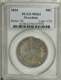 Bust Half Dollars: , 1824 50C Overdate MS62 PCGS. 103, R.1. The 4 in the date is sharplyrepunched over what the Overton reference refers to as ...