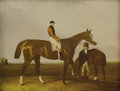 Prints:American, UNKNOWN ARTIST. Racing horses with riders. Tinted print onpaper. 6-3/4in. x 8-3/4in.. ...