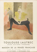 Prints:European Modern, TOULOUSE LAUTREC. Poster with copy of lithograph by ToulouseLautrec, to advertise an exhibition. Poster printed on paper. 2...