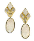 Estate Jewelry:Earrings, Mother-of-Pearl, Diamond, Gold Earrings. Each floral motif earringfeatures carved mother-of-pearl, accented by full-cut d... (Total:2 Pieces)