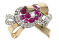 Estate Jewelry:Brooches - Pins, Retro Diamond, Ruby, Platinum, Gold Brooch. The bow brooch featuresone Old Mine-cut diamond together with European and si...