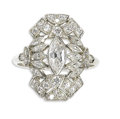 Estate Jewelry:Rings, Art Deco Diamond, Platinum Ring. The ring centers a marquise-cut diamond weighing approximately 0.55 carat, enhanced by ma...
