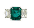 Estate Jewelry:Rings, Emerald, Diamond, Platinum Ring. The ring centers one emerald-cutemerald measuring 11.00 x 8.65 x 6.10 mm and weighing ap...