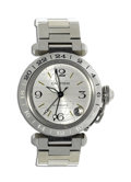 """Timepieces:Wristwatch, Cartier Men's, Stainless Steel Self-Winding """"Pasha"""" Wristwatch, Modern. Case: 35 mm, stainless steel, stamped (Pash) DeCar..."""