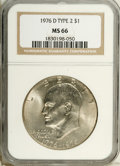 Eisenhower Dollars: , 1976-D $1 Type Two MS66 NGC. NGC Census: (189/9). PCGS Population (659/23). Mintage: 82,179,568. Numismedia Wsl. Price: $14...