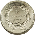 1867 $3 Indian Head Three Dollars, Judd-597, Pollock-661, R.8, PR68 NGC. The regular issue design for the 1867 Indian He...