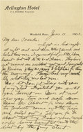 Basketball Collectibles:Others, 1902 James Naismith Handwritten Signed Letter with SignedEnvelope.. Date: March 4, 1919.. Location: Winfield, Kansas.. ...