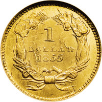 1855 G$1 Type Two MS64 NGC. In 1854 it was decided by Mint officials that the gold dollar was too small and thick for it...