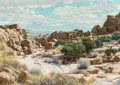 Fine Art - Painting, American:Contemporary   (1950 to present)  , Bernard Wynne (American, 1920-2009). Desert Landscape withBoulders, 1986. Oil on masonite. 24 x 34 inches (61 x 86.4cm...
