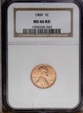 Lincoln Cents: , 1969 1C MS66 Red NGC. NGC Census: (124/5). PCGS Population (115/4).(#2914)...
