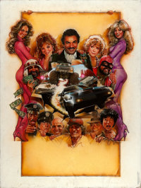 "Cannonball Run II by Drew Struzan (Warner Brothers, 1984). Original Acrylic Painting on Illustration Board (30"" X 4..."