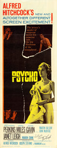 "Movie Posters:Hitchcock, Psycho (Paramount, 1960). Janet Leigh Autographed Insert (14"" X36"").. ..."