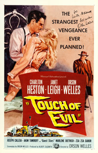 """Touch of Evil (Universal International, 1958). Orson Welles Autographed One Sheet (27"""" X 41"""")"""
