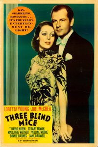 "Three Blind Mice (20th Century Fox, 1938). Poster (40"" X 60"") Photo Gelatin. From the collection of William E..."